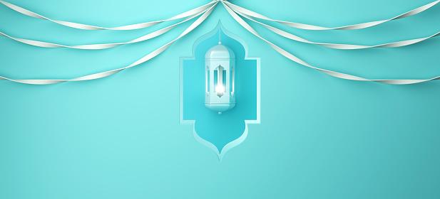 1130047135 istock photo Arabic window, hanging lamp and ribbon on blue pastel background. 1142530922