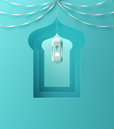 istock Arabic window, hanging lamp and ribbon on blue pastel background. 1142726908