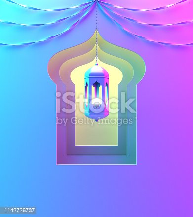 1142326460istockphoto Arabic window, hanging lamp and ribbon on blue pink violet yellow green gradient  background. 1142726737
