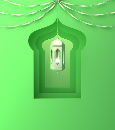 istock Arabic window, hanging lamp and ribbon on green pastel background. 1142531473