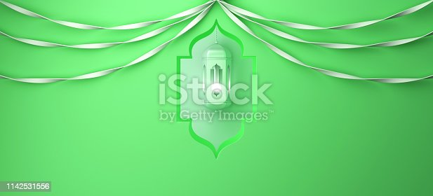 istock Arabic window, hanging lamp and ribbon on green pastel background. 1142531556
