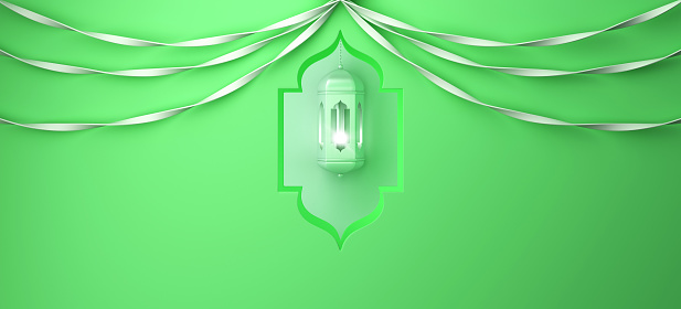1142531551 istock photo Arabic window, hanging lamp and ribbon on green pastel background. 1142531556