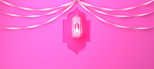 1142531551 istock photo Arabic window, hanging lamp and ribbon on pink pastel background. 1142531551