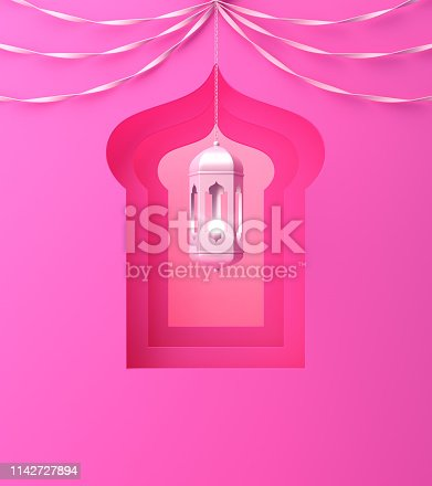 1142531551istockphoto Arabic window, hanging lamp and ribbon on pink pastel background. 1142727894