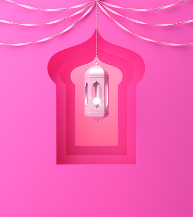 1142531551 istock photo Arabic window, hanging lamp and ribbon on pink pastel background. 1142727894