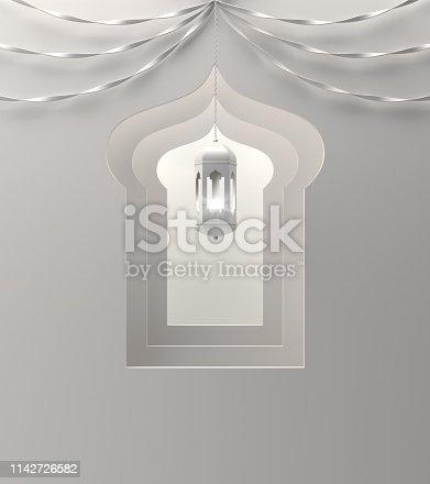 1142326460istockphoto Arabic window, hanging lamp and ribbon on white background. 1142726582