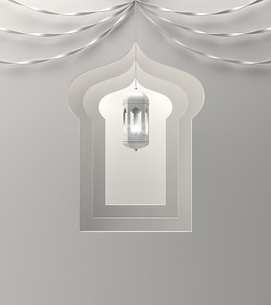 1142326460 istock photo Arabic window, hanging lamp and ribbon on white background. 1142726582