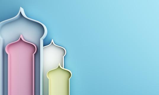 istock Arabic window on blue pastel background. Design creative minimal concept of islamic celebration day ramadan kareem or eid al fitr adha, hajj, hijri, mawlid. 1162068206
