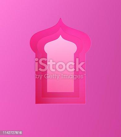 1142326460istockphoto Arabic window on pink pastel background. 1142727616