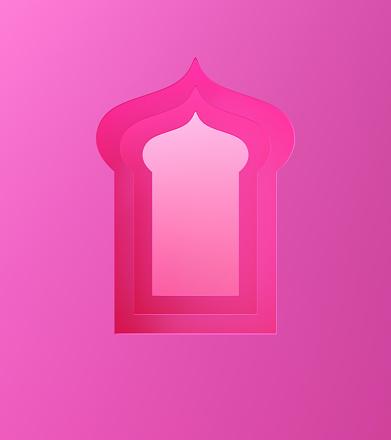 1142326460 istock photo Arabic window on pink pastel background. 1142727616