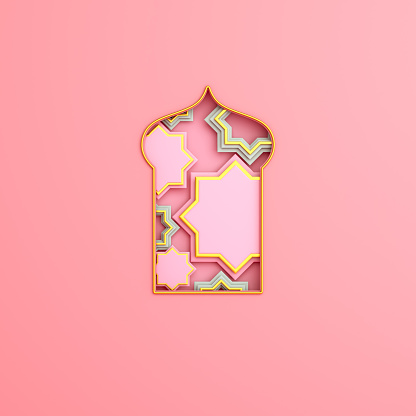 istock Arabic window on pink rose background. Design creative concept of islamic celebration day ramadan kareem or eid al fitr adha. 3D rendering illustration. 1211739998