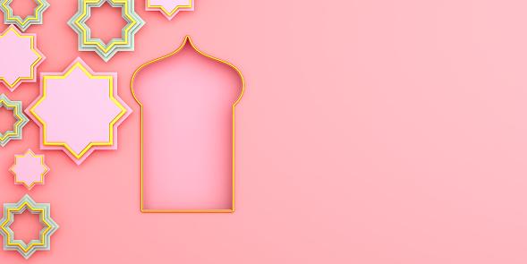 1130047135 istock photo Arabic window on pink rose background. Design creative concept of islamic celebration day ramadan kareem or eid al fitr adha. 3D rendering illustration. 1211740006