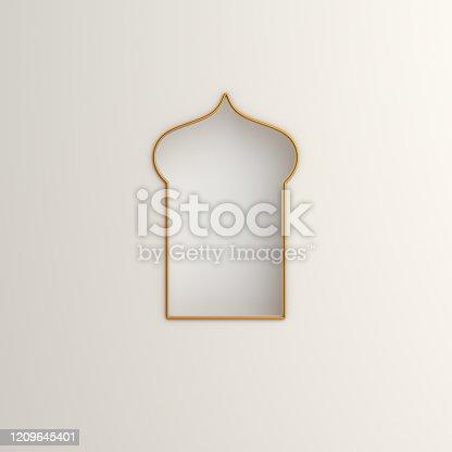 istock Arabic window on white background. Design creative concept of islamic celebration day ramadan kareem or eid al fitr adha. 3D rendering illustration. 1209645401
