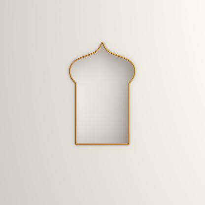 istock Arabic window on white background. Design creative concept of islamic celebration day ramadan kareem or eid al fitr adha. 3D rendering illustration. 1209645401