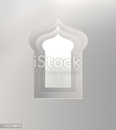 istock Arabic window on white background. 1142726575
