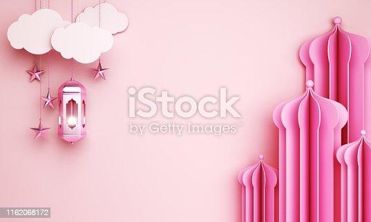 istock Arabic window or mosque paper cut, lantern, cloud, star on pink pastel background. Design creative concept of islamic celebration day ramadan kareem or eid al fitr adha. 1162068172