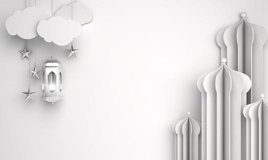 istock Arabic window or mosque paper cut, lantern, cloud, star on white background. Design creative concept of islamic celebration day ramadan kareem or eid al fitr adha. 1162066639