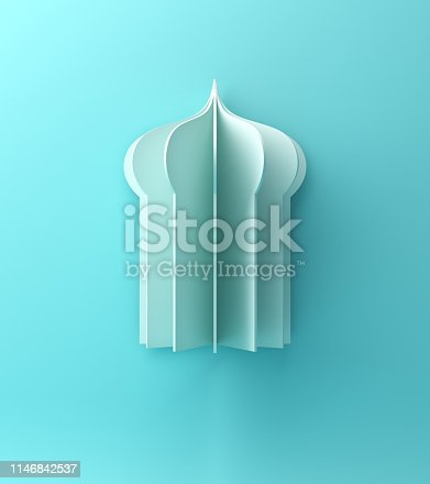 1142727715istockphoto Arabic window or mosque paper cut on blue pastel background. 1146842537