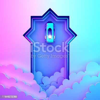1142531551istockphoto Arabic window paper cut, hanging lamp, cloud on blue pink violet gradient background. 1164823285
