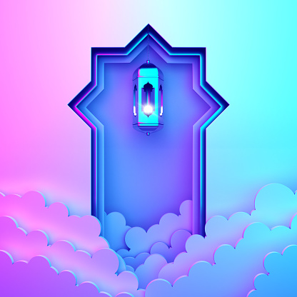 1142531551 istock photo Arabic window paper cut, hanging lamp, cloud on blue pink violet gradient background. 1164823285