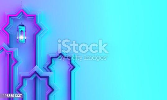 1142727715istockphoto Arabic window paper cut, hanging lamp on blue pink violet gradient background. 1163854337