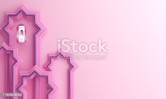 1140668282istockphoto Arabic window paper cut, hanging lamp on pink pastel background. 1164823254