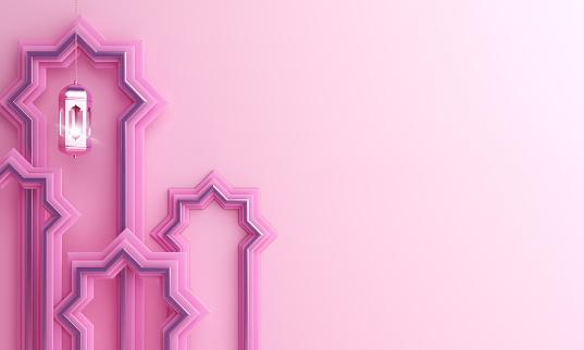 1142531551 istock photo Arabic window paper cut, hanging lamp on pink pastel background. 1164823254