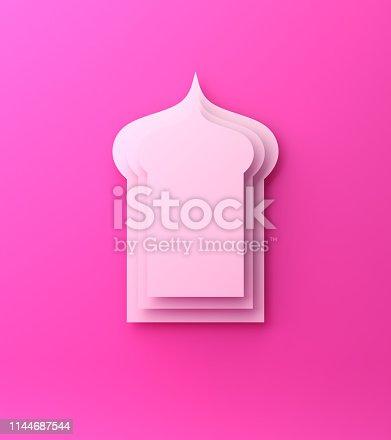 1142326460istockphoto Arabic window paper cut on pink background. Design creative concept of islamic celebration day ramadan kareem or eid al fitr adha. 1144687544