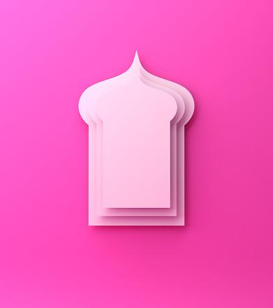 1142326460 istock photo Arabic window paper cut on pink background. Design creative concept of islamic celebration day ramadan kareem or eid al fitr adha. 1144687544