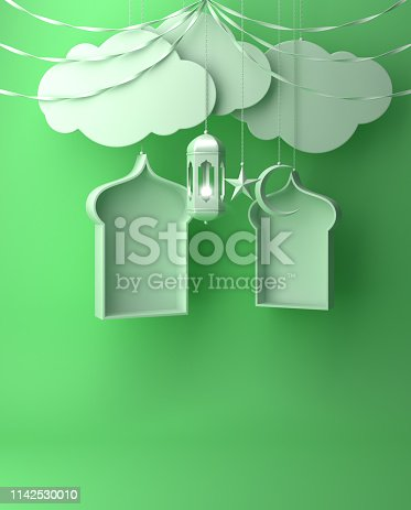 istock Arabic window, ribbon, cloud, crescent, star and hanging lamp on green pastel background. 1142530010