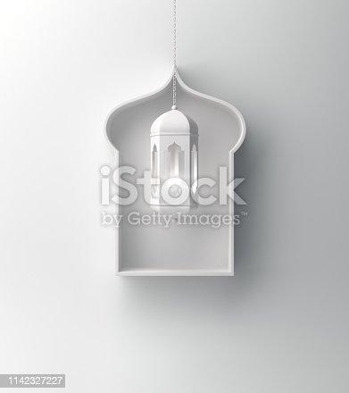 1142326460istockphoto Arabic window shelf and hanging lantern on white background. 1142327227