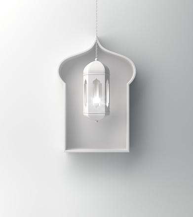 1142326460 istock photo Arabic window shelf and hanging lantern on white background. 1142327227