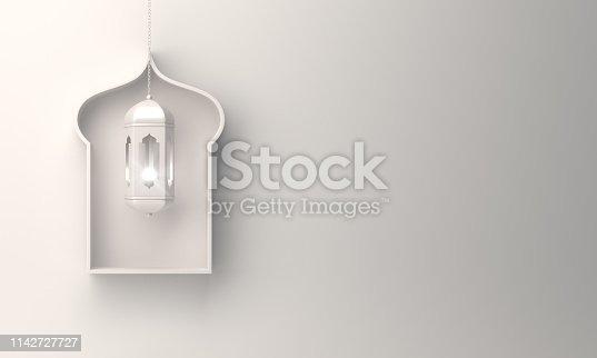 1130047135istockphoto Arabic window shelf and hanging lantern on white background. 1142727727