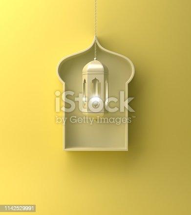 1142727715istockphoto Arabic window shelf and hanging lantern on yellow pastel background. 1142529991