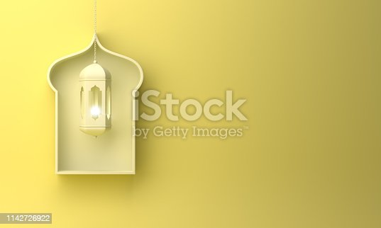 1142530010 istock photo Arabic window shelf and hanging lantern on yellow pastel background. 1142726922