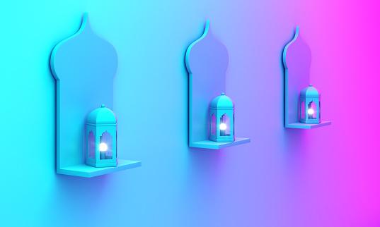 1142531551 istock photo Arabic window shelf and lantern on blue pink violet gradient background. 1142725144