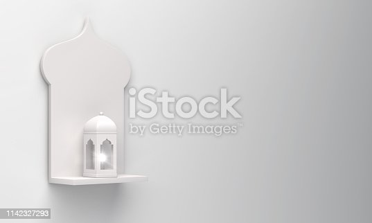 1130047135istockphoto Arabic window shelf and lantern on white background. 1142327293