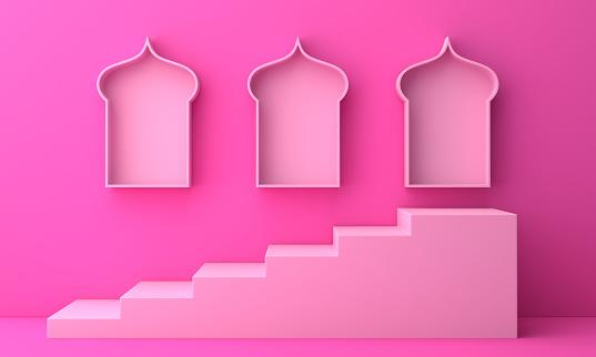 1142531551 istock photo Arabic window shelf and steps on pink pastel background. 1142727732