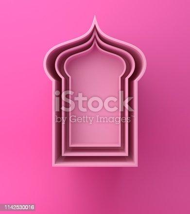 1142727715istockphoto Arabic window shelf on pink background. 1142530016