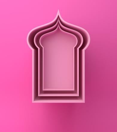 1142326460 istock photo Arabic window shelf on pink background. 1142530016