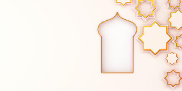 1130047135 istock photo Arabic window  star on white beige background. Design creative concept of islamic celebration day ramadan kareem or eid al fitr adha, copy space text area, 3D rendering illustration. 1211739995