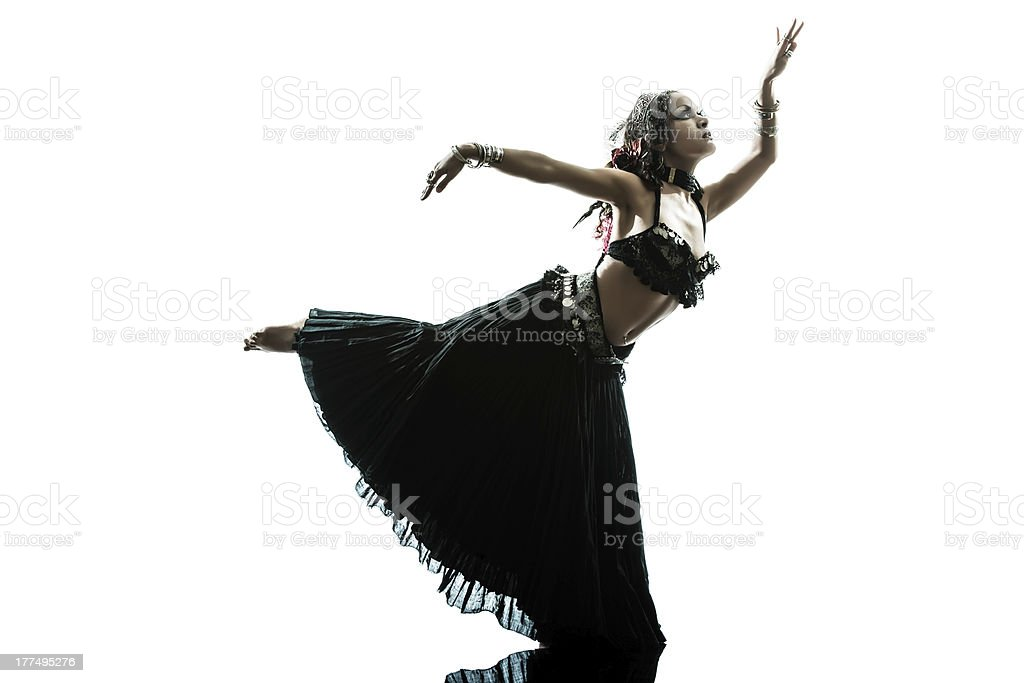 arabic woman belly dancer dancing stock photo