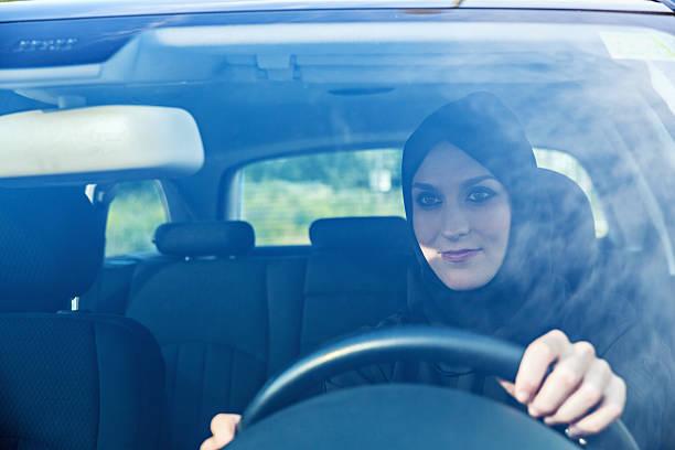 Arabic Woman In Car stock photo