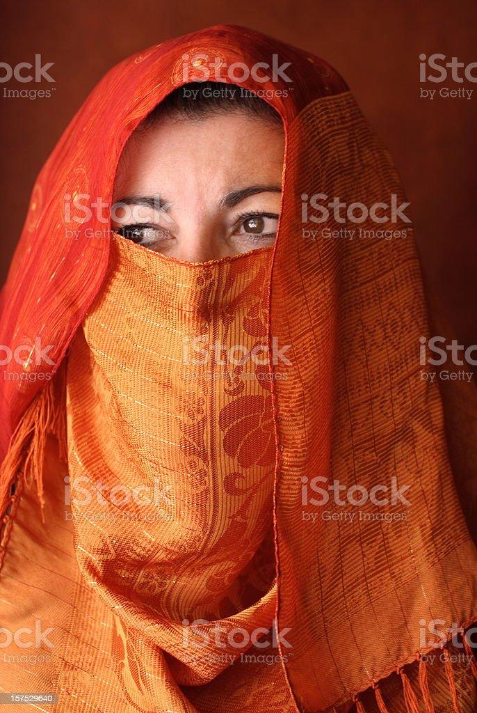 Arabic Woman in Orange Hajib royalty-free stock photo