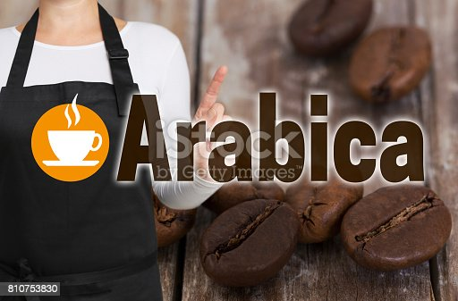 istock Arabica concept is shown by coffee roaster 810753830