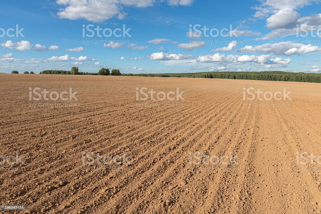 arable field farm and blue sky royalty-free stock photo