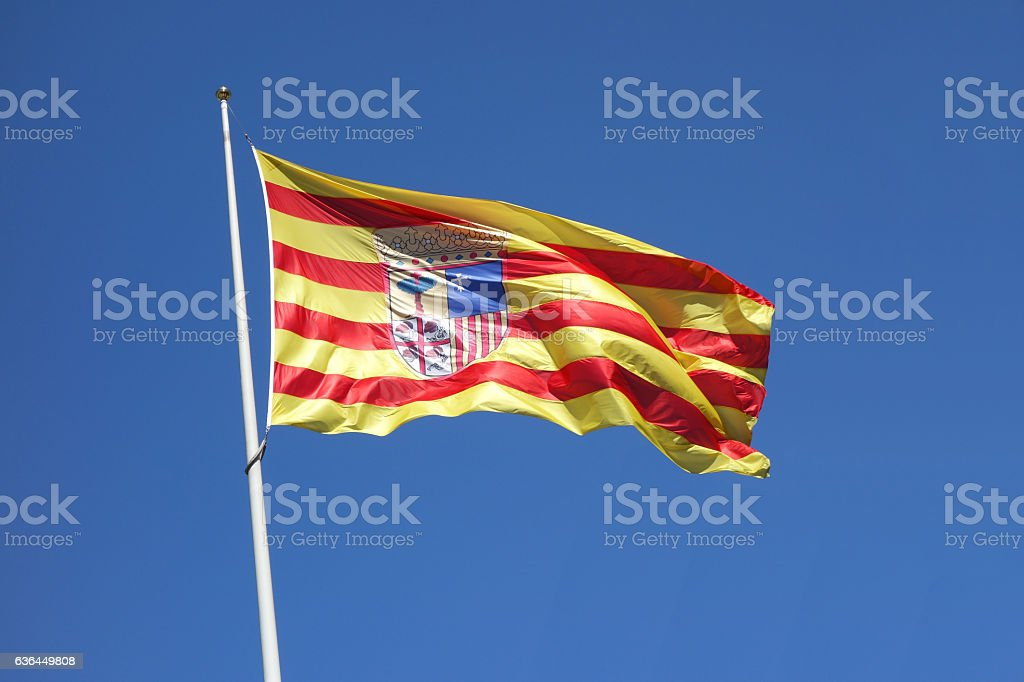 Aragon flag (Spain) in a windy day - foto de stock