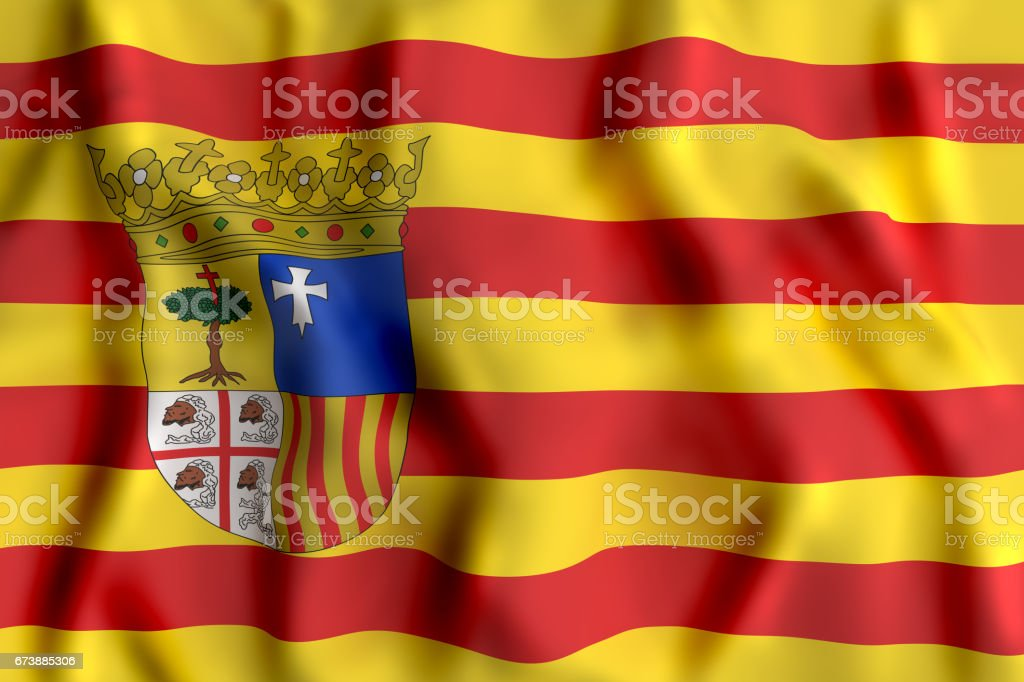 Aragon flag waving - foto de stock