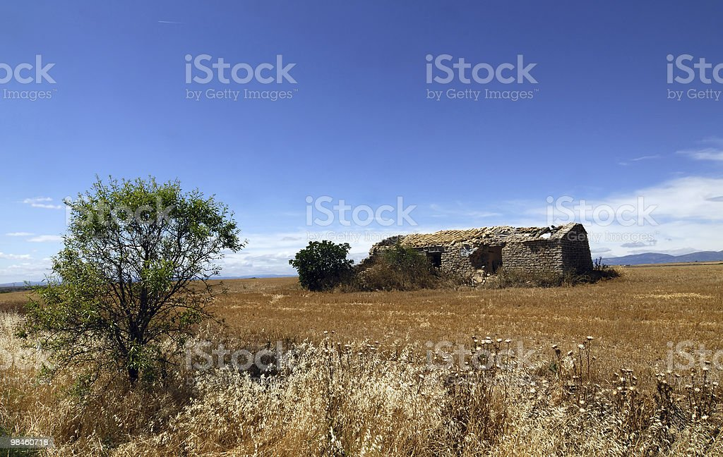 Aragon (Spain). Landscape with ruin near Huesca at summer royalty-free stock photo