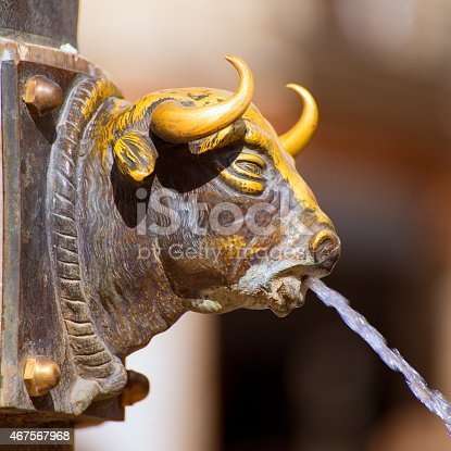 istock Aragon Teruel El Torico fountain in Plaza Carlos Castel Spain 467567968